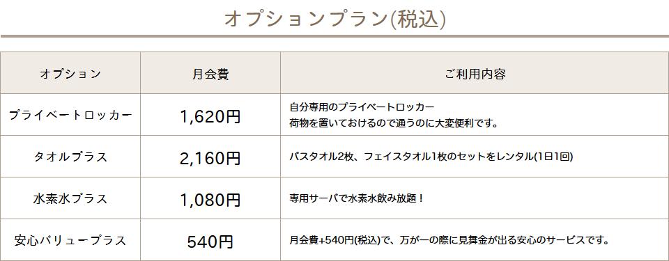 カルド神楽坂店のオプション料金