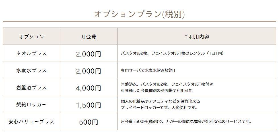 カルド上野店のオプション